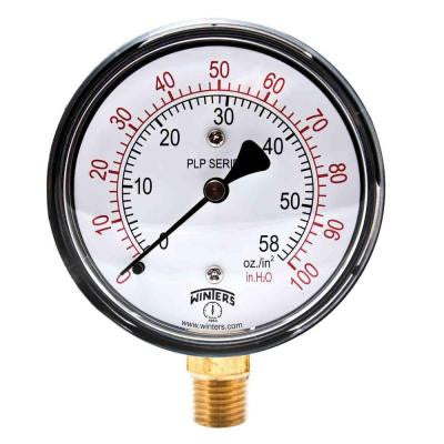 PLP Series 2.5 in. Steel Case Pressure Gauge with Brass Internals and 1/4 in. NPT LM with Range of 0-100 in. Water/oz.