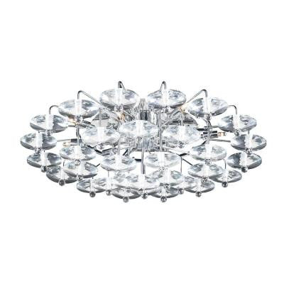 12-Light Polished Chrome Ceiling Semi-Flush Mount Light with Clear Glass