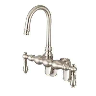 2-Handle Wall Mount Vintage Gooseneck Claw Foot Tub Faucet with Porcelain Lever Handles in Brushed Nickel