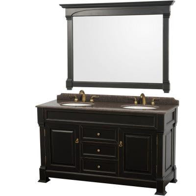 Andover 60 in. W x 23 in. D Vanity in Black with Granite Vanity Top in Imperial Brown with White Basins and Mirror