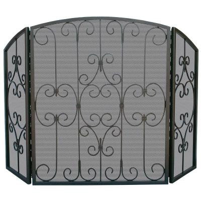 Graphite 3-Panel Fireplace Screen with Decorative Scrollwork