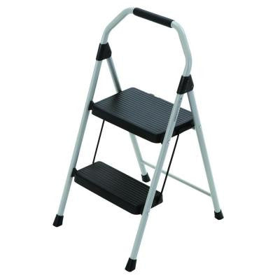 2-Step Compact Steel Step Stool Ladder with 225 lb. Load Capacity Type II Duty Rating