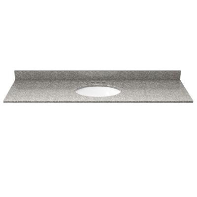 49 in. Granite Vanity Top in Burlywood with White Basin