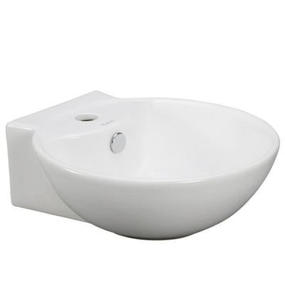 Wall-Mounted Rounded Bathroom Sink in White