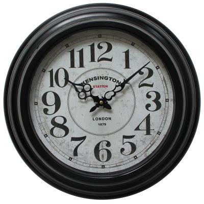17 in. Circular Iron Wall Clock in Black Frame