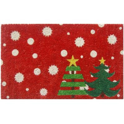 Christmas Trees 17 in. x 28 in. Non-Slip Coir Door Mat