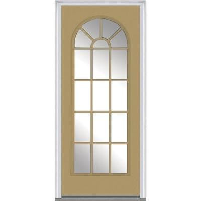 32 in. x 80 in. Classic Clear Glass Round Top Full Lite Painted Builder's Choice Steel Prehung Front Door