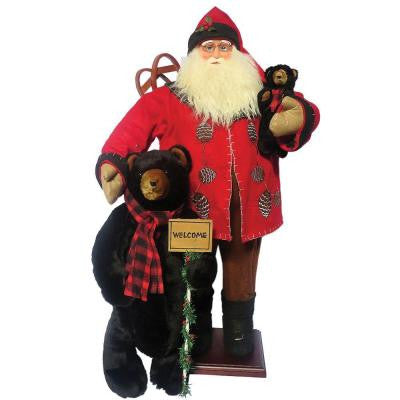 36 in. Pine Cone Santa with Bears