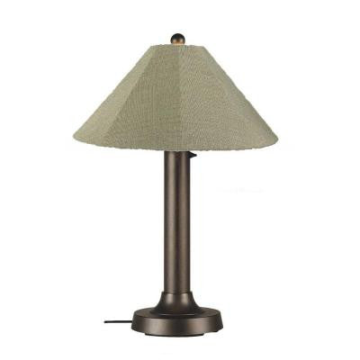 Catalina 34 in. Outdoor Bronze Table Lamp with Basil Linen Shade