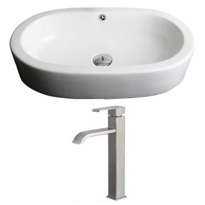 Oval Vessel Sink Set in White with Deck Mount cUPC Faucet