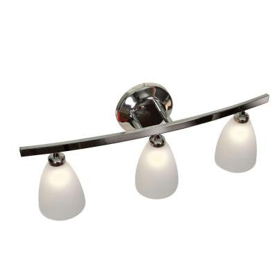Sydney 3-Light Chrome Vanity Light with Frosted Glass Shade