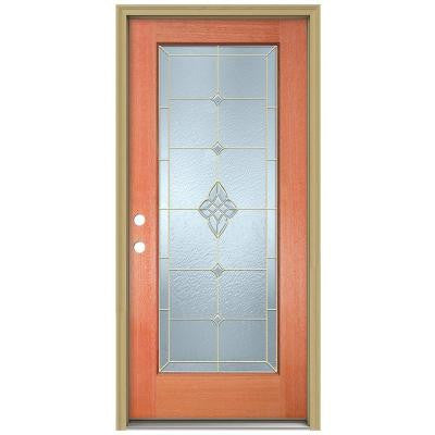 36 in. x 80 in. Rosemont Full Lite Unfinished Mahogany Wood Prehung Front Door with Brickmould and Brass Caming