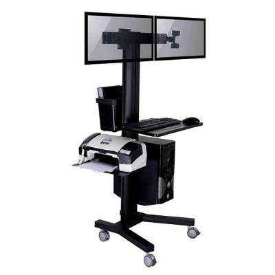 Mobile TV Stand for Two Screen with PC holder