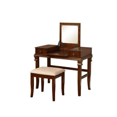 Angela Polyester Seat Flip Top Vanity Set in Walnut
