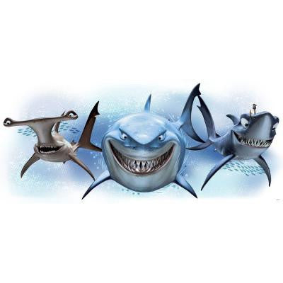 5 in. x 19 in. Finding Nemo Sharks Peel and Stick Giant Wall Decal