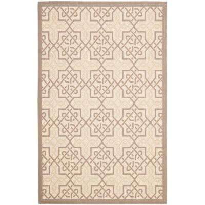 Courtyard Beige/Dark Beige 8 ft. x 11 ft. Indoor/Outdoor Area Rug