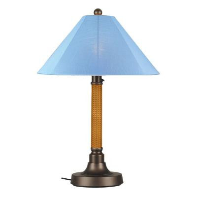 Bahama Weave 34 in. Mocha Cream Outdoor Table Lamp with Sky Blue Shade