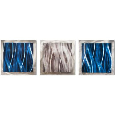 Brevium 12 in. x 38 in. Blue and Silver Essence Metal Wall Art (Set of 3)