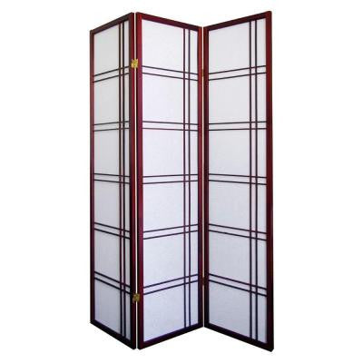 Girard 3-Panel Natural-Fiber Room Divider in Cherry