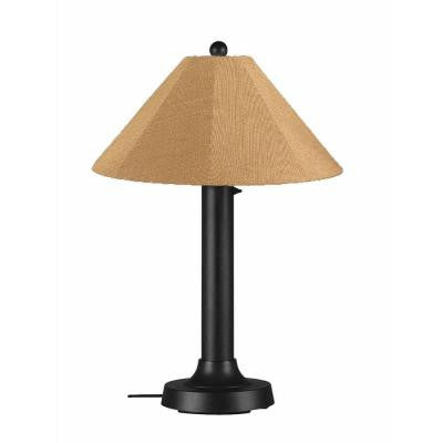 Catalina 34 in. Outdoor Black Table Lamp with Straw Linen Shade