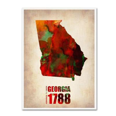 24 in. x 18 in. Georgia Watercolor Map Canvas Art