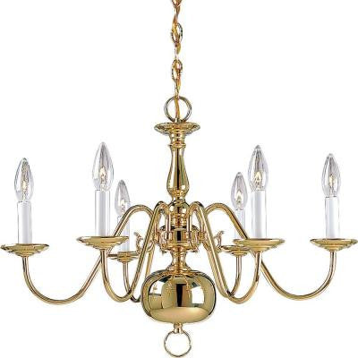 Americana Collection 6-Light Polished Brass Chandelier