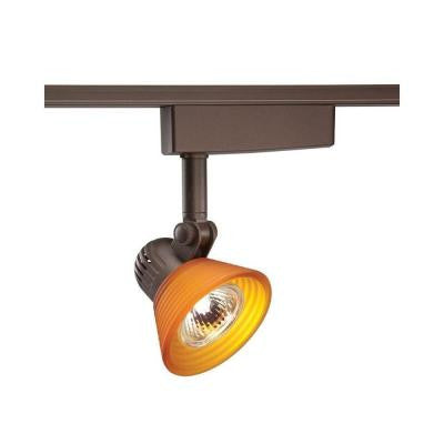 Trac-Lites Low-Voltage Bronze Light with Amber-Frost Step Glass