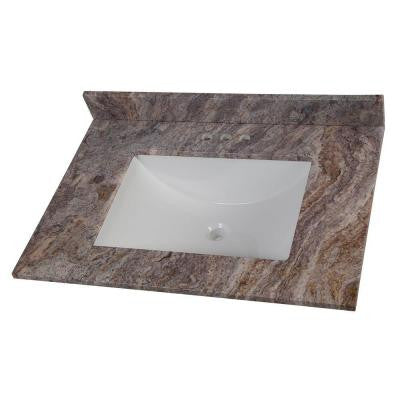 31 in. Stone Effects Vanity Top in Cold Fusion with White Basin