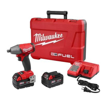 M18 FUEL 18-Volt Lithium-Ion Brushless 1/2 in. Compact Impact Wrench with Pin Detent Kit