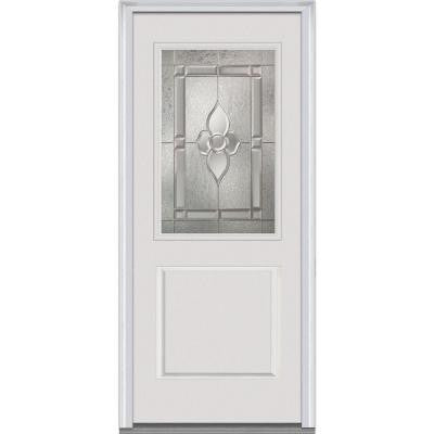 36 in. x 80 in. Master Nouveau Decorative Glass 1/2 Lite 1-Panel Primed White Fiberglass Smooth Prehung Front Door