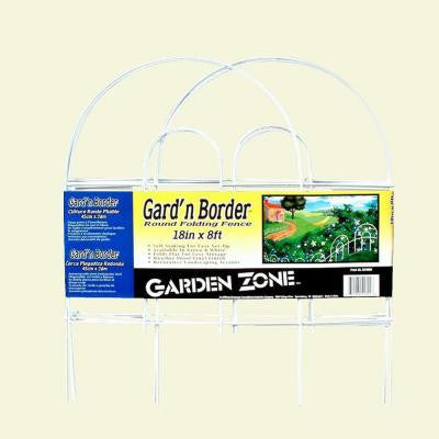 18 in. Steel White Vinyl Coated Round Folding Garden Fence
