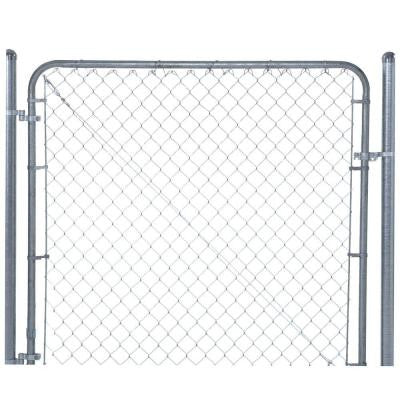 6 ft. x 6 ft. Galvanized Metal Adjustable Single Walk Fence Gate