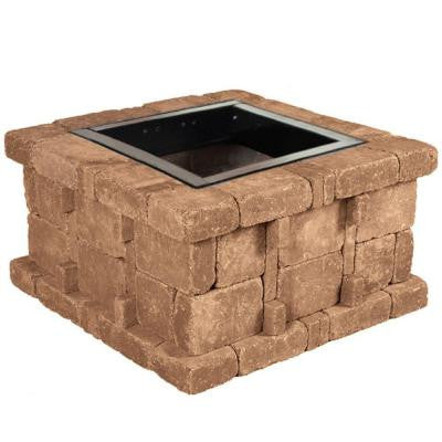 38.5 in. x 21 in. Rumblestone Square Fire Pit Kit in Sierra Blend