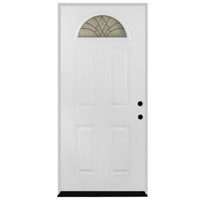 36 in. x 80 in. Webville Fan Lite Primed White Steel Prehung Front Door