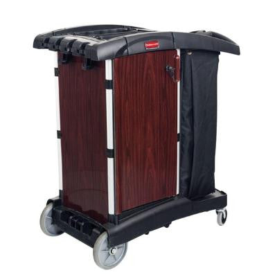 Executive Series Deluxe Paneled Wood Compact Housekeeping Cart