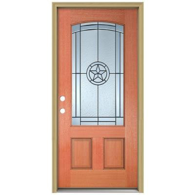 36 in. x 80 in. Lone Star Camber Top 3/4 Lite Unfinished Mahogany Prehung Front Door with Brickmould and Patina Caming