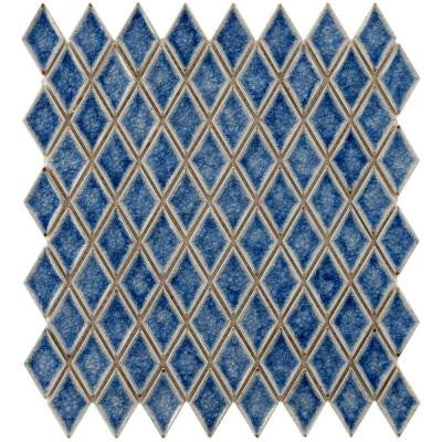 Crackle Diamond Azure 12 in. x 12 in. x 9 mm Ceramic Mosaic Tile