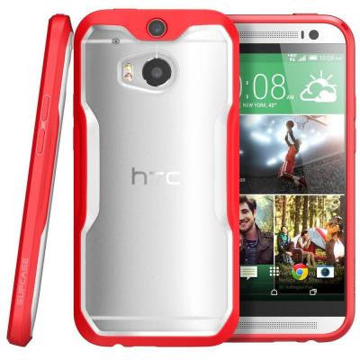 Unicorn Beetle Hybrid Bumper Case for HTC One M8 - Clear/Red