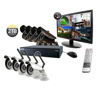 16-Channel 2TB DVR Surveillance System with 4 Wireless Bullet Cameras, 4 Wired Bullet Cameras and 21.5 in. Monitor