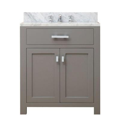 30 in. W x 21 in. D x 34 in. H Vanity in Cashmere Grey with Marble Vanity Top in Carrara White