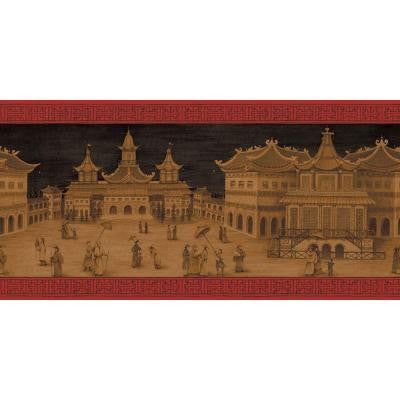 10.25 in. x 15 ft. Lacquer Red and Gold Emperor's Palace Border