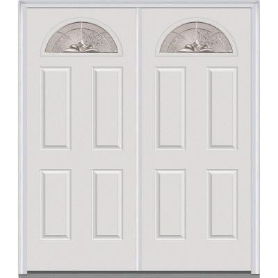 72 in. x 80 in. Heirloom Master Decorative Glass 1/4 Lite Painted Fiberglass Smooth Double Prehung Front Door