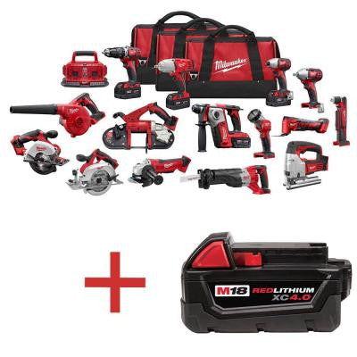 M18 18-Volt Lithium-Ion Cordless Combo Kit (15-Tool) with Free M18 4.0Ah Extended Capacity Battery