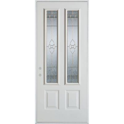 36 in. x 80 in. Traditional Brass 2 Lite 2-Panel Prefinished White Steel Prehung Front Door