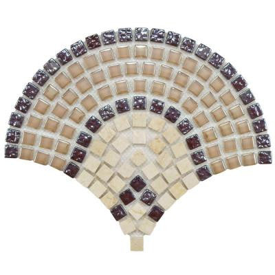 Tessera Arch Spice 9-3/4 in. x 11-3/4 in. x 8 mm Glass and Stone Mosaic Wall Tile