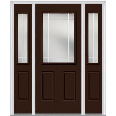 64 in. x 80 in. Classic Clear Glass PIM 1/2-Lite Painted Majestic Steel Prehung Front Door with Sidelites