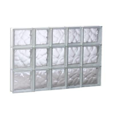 32.75 in. x 21.25 in. x 3.125 in. Non-Vented Wave Pattern Glass Block Window