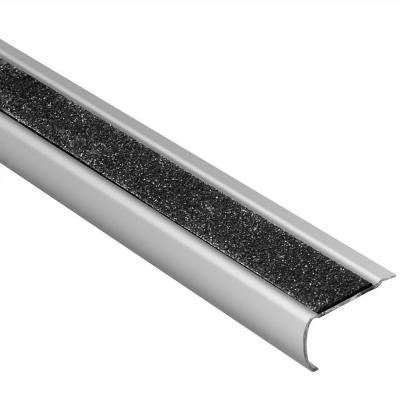 Trep-GK-B Brushed Stainless Steel/Black 1/16 in. x 4 ft. 11 in. Metal Stair Nose Tile Edging Trim