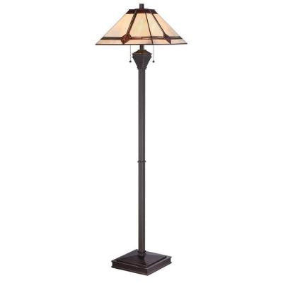 Designer Collection 60.25 in. Bronze Floor Lamp with Amber Tiffany Shade