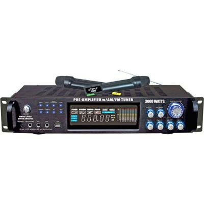 3000-Watt Hybrid Pre-Amplifier with AM-FM Tuner/USB/Dual Wireless Mic